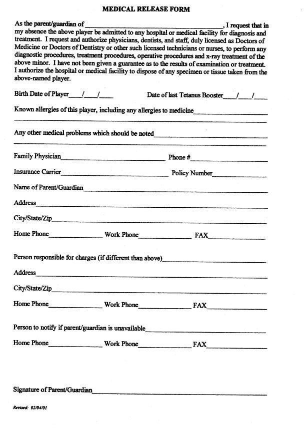 standard medical release form – Medical Release Form
